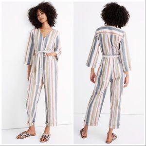 🆕 Madewell Striped V-Neck Tie-Waist Jumpsuit 8